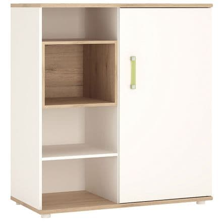 4KIDS Low cabinet with shelves (sliding door) in light oak and white high gloss with lemon handles